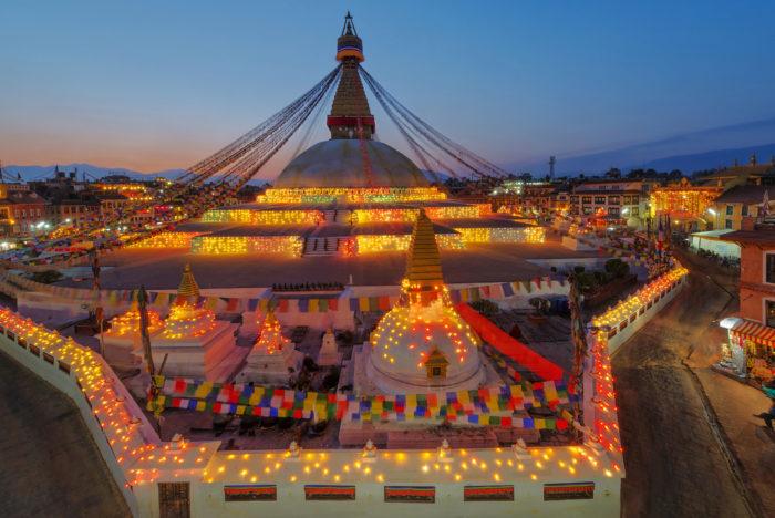 boudhanath stupa at night
